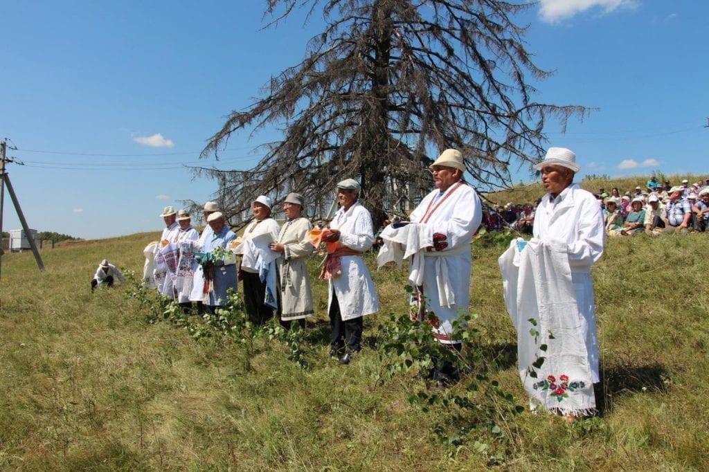 Фото закамских удмуртов, празднующих Сабантуй, наряженных в белые одежды в поле у старой ели