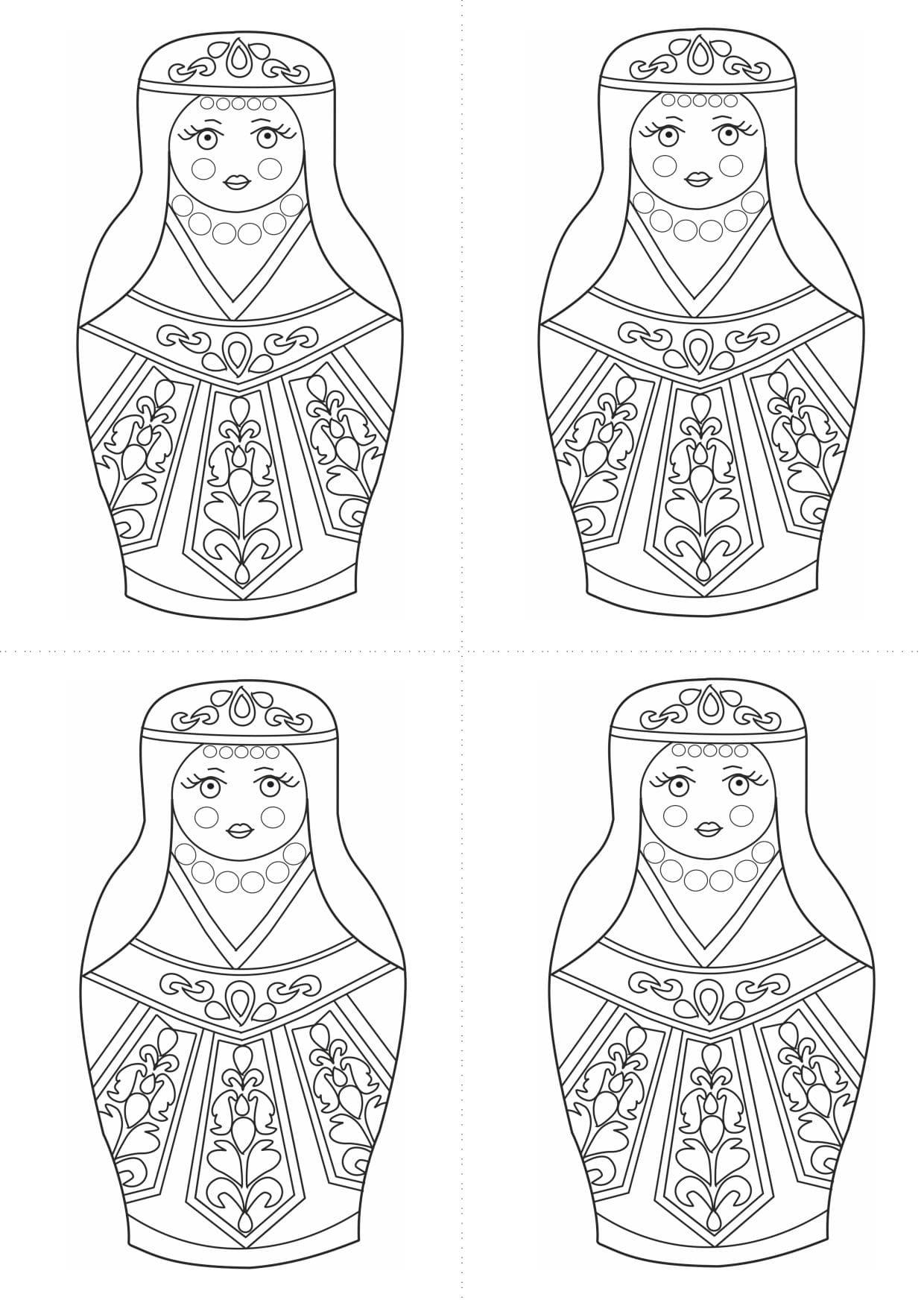 Раскраска шаблон матрёшки армянки для рисования