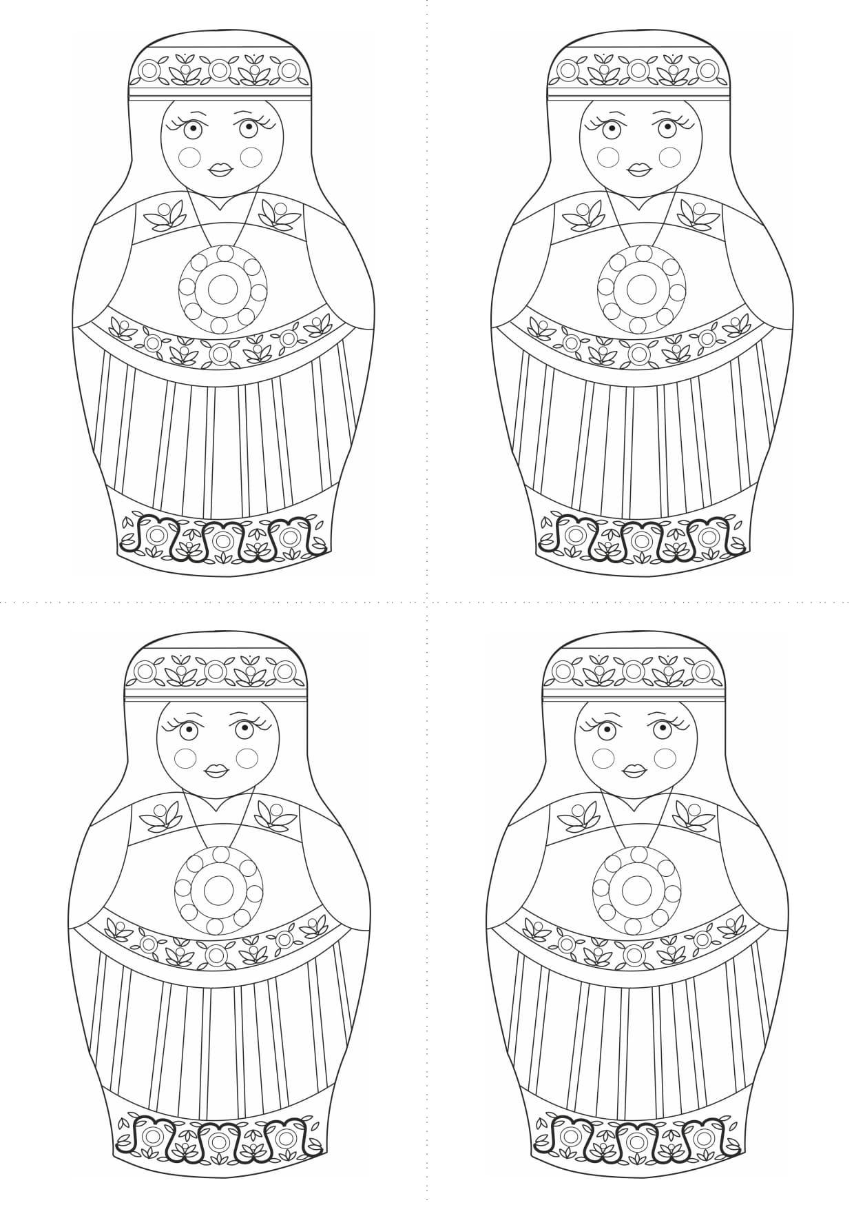 Раскраска шаблон матрёшки эстонки для рисования