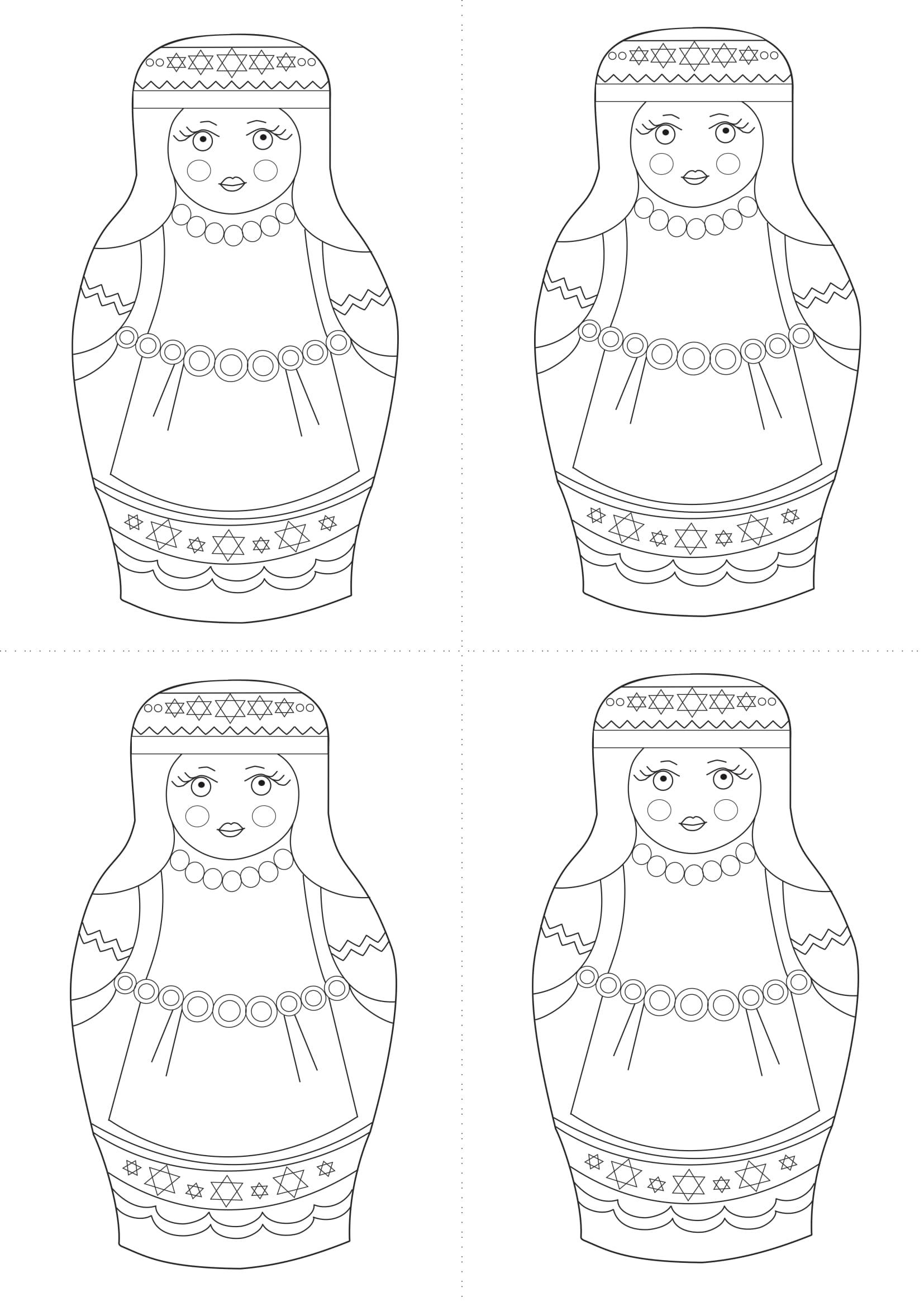 Раскраска шаблон матрёшки еврейки для рисования