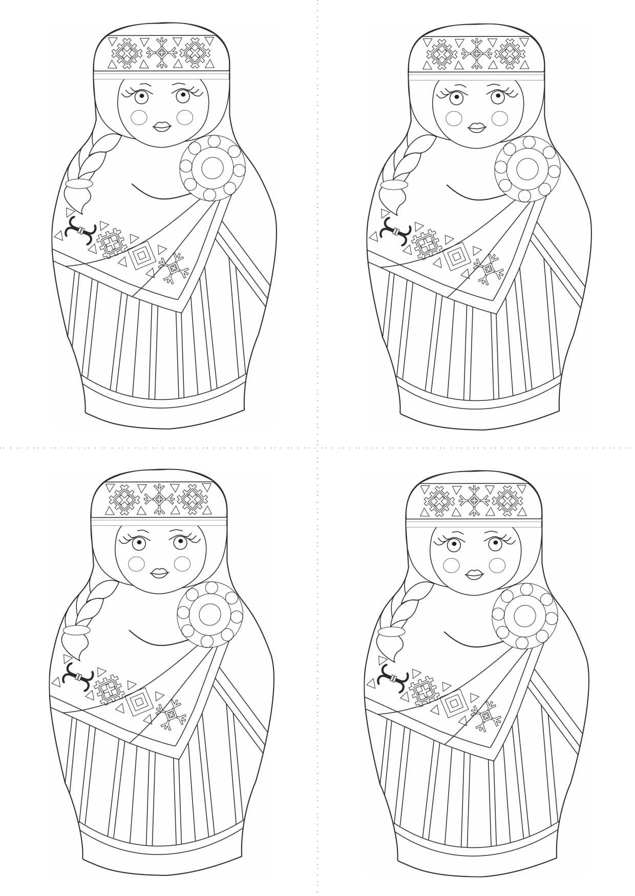 Раскраска шаблон матрёшки латышки для рисования