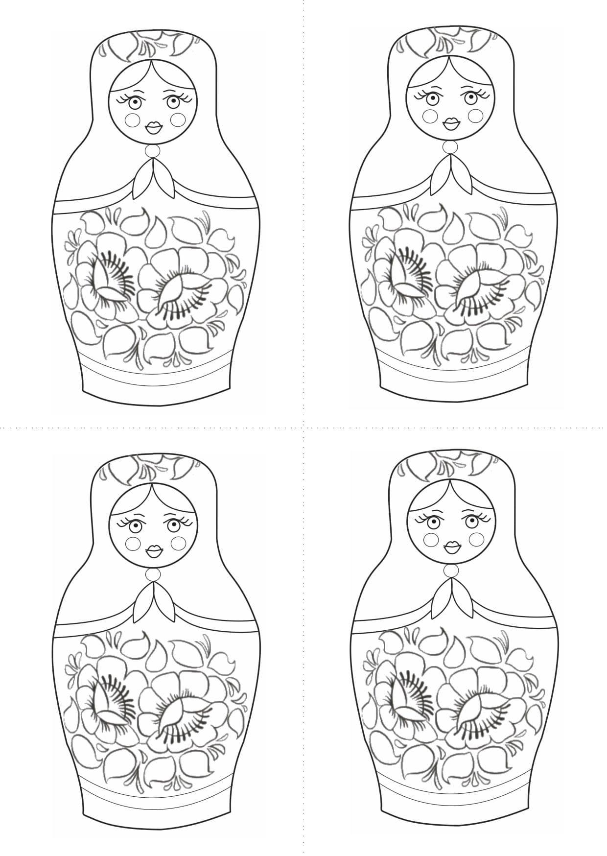 Раскраска шаблон матрёшки русской для рисования
