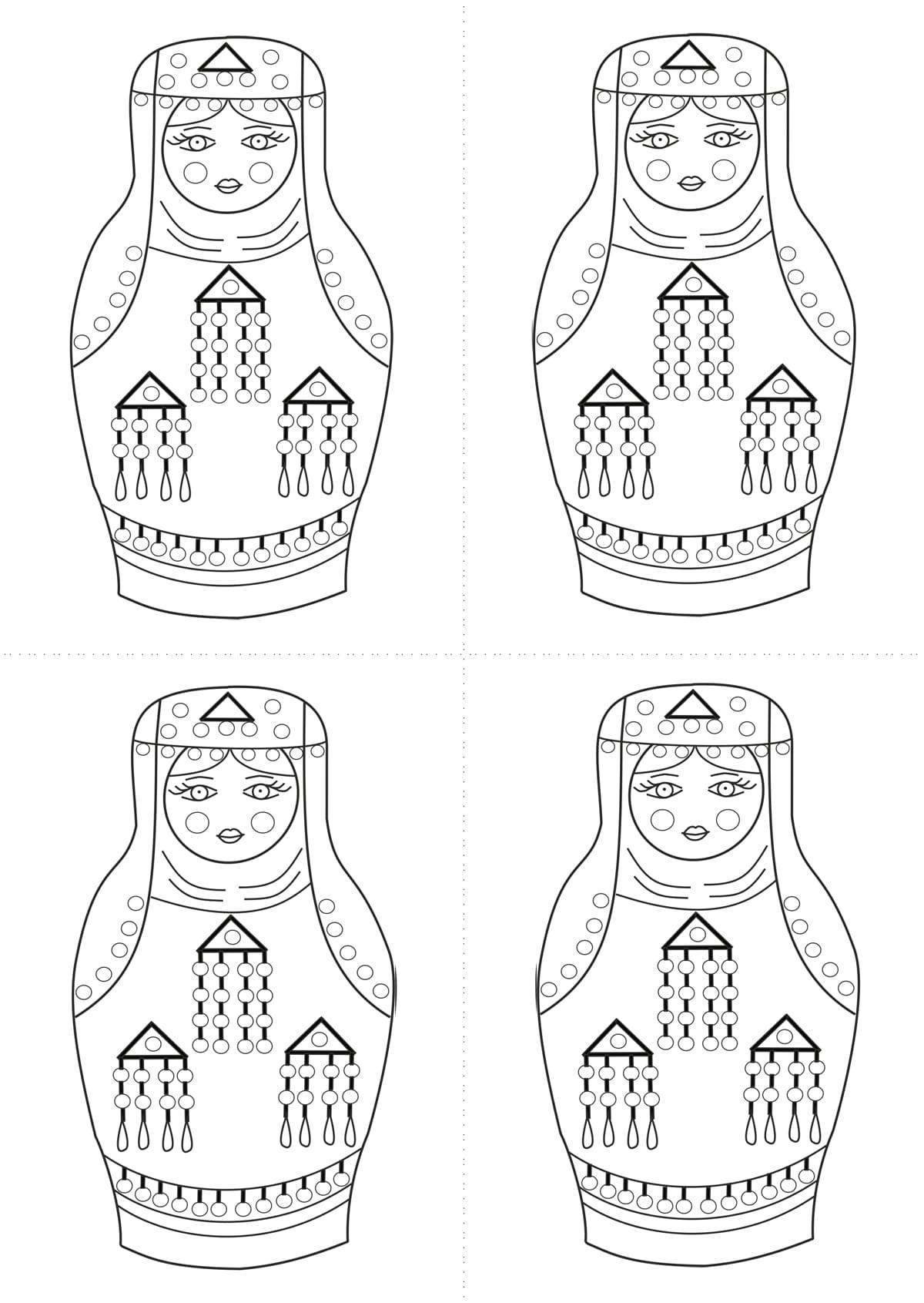 Раскраска шаблон матрёшки дагестанки для рисования