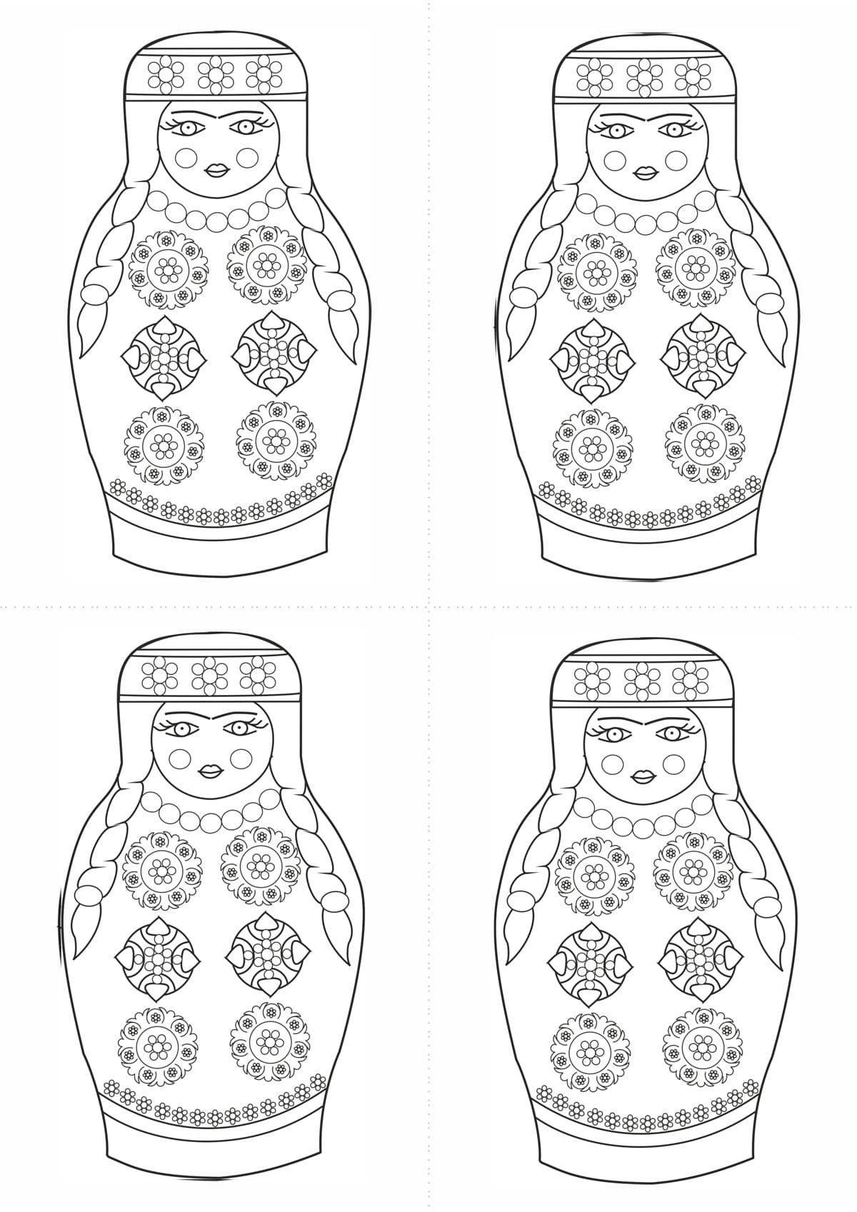 Раскраска шаблон матрёшки таджички для рисования