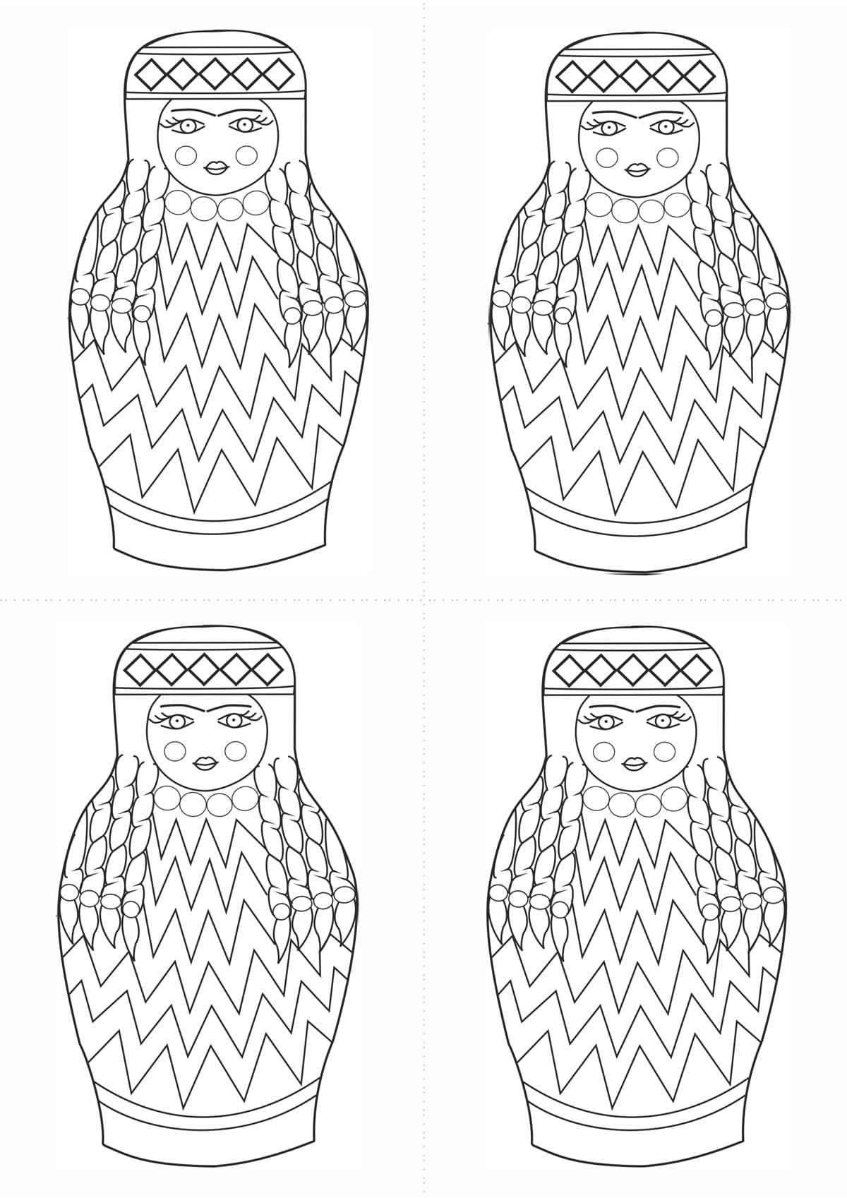 Раскраска шаблон матрёшки узбечки для рисования