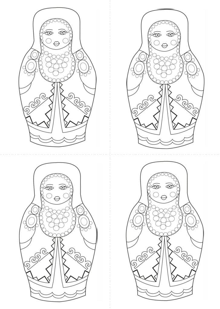Раскраска шаблон матрёшки башкирки для рисования
