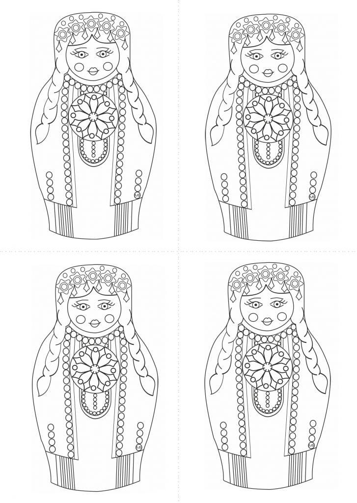 шаблон матрёшки туркменки