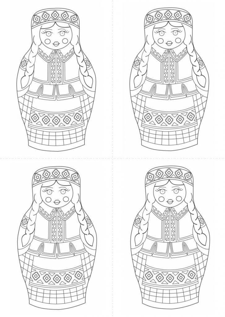 шаблон матрёшки белоруски